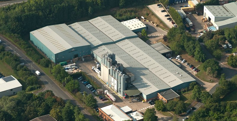 Aerial shot of ARDEX factory in Haverhill, UK