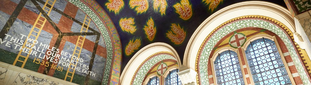 St Georges Chapel - view of the beautiful renovated mosaic tile ceiling